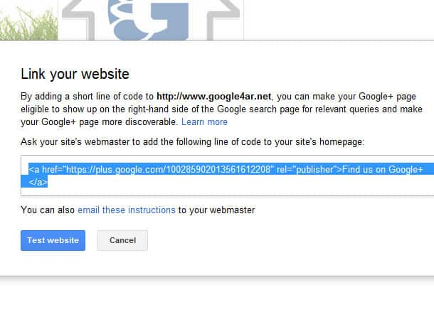 إثبات ملكية صفحتك على Google+