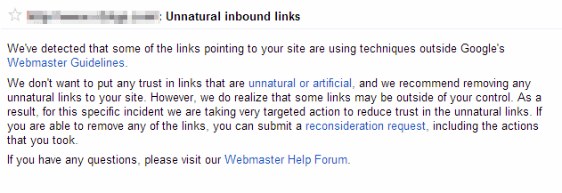 تحذير جوجل للروابط الغير طبيعية في موقعك