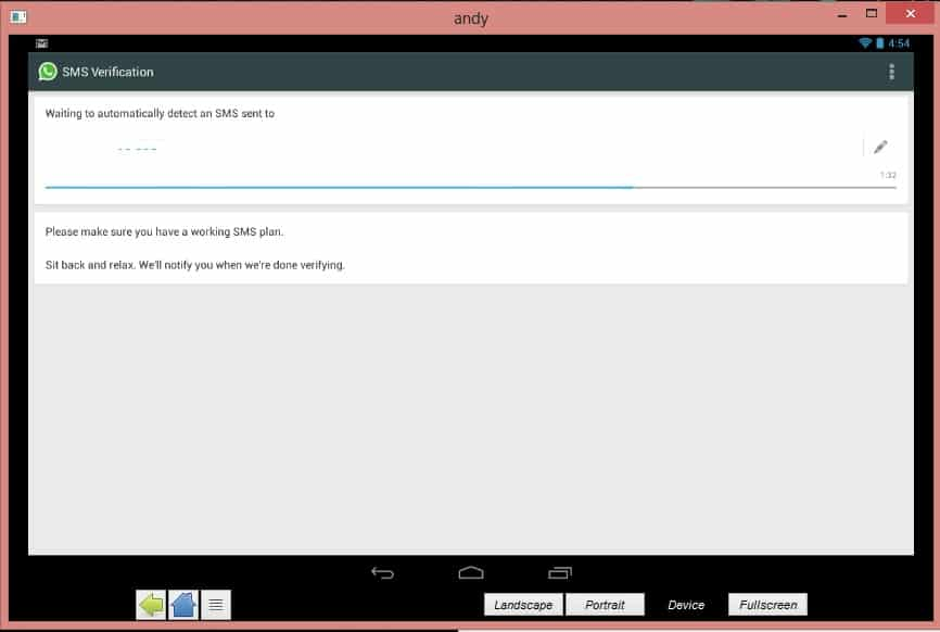 عملية التحقق خلال تثبيت تطبيق واتس اب