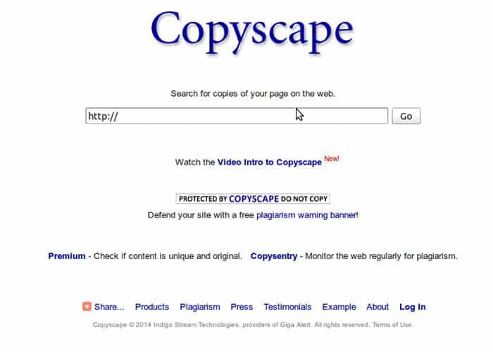 Copyscape موقع البحث عن المحتوى المنسوخ