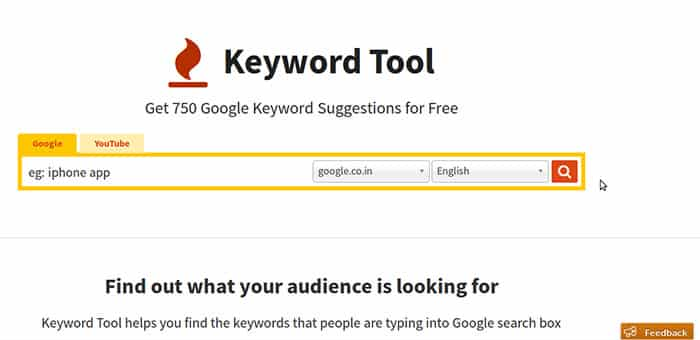 Keyword-Tool البحث عن الكلمات المفتاحية