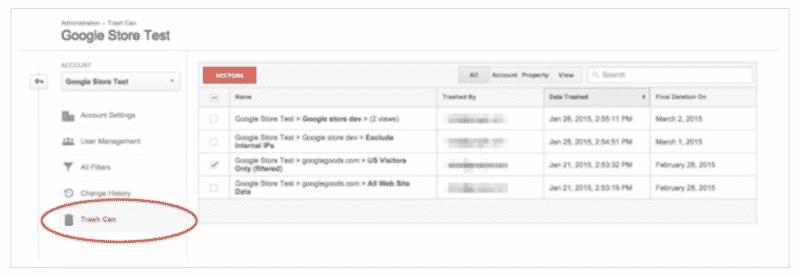 Google-analytics-trash-can سلة المهملات في جوجل