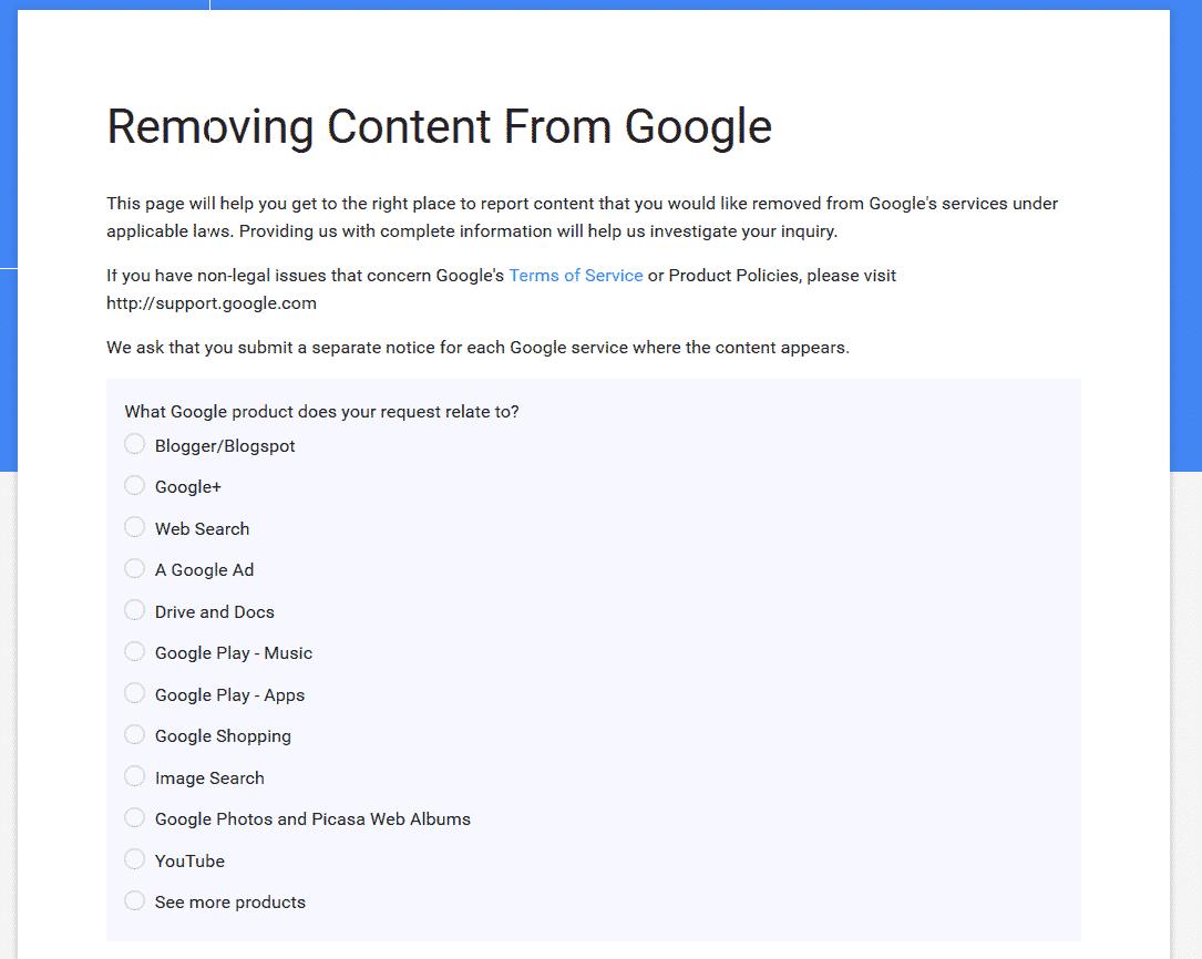google complain