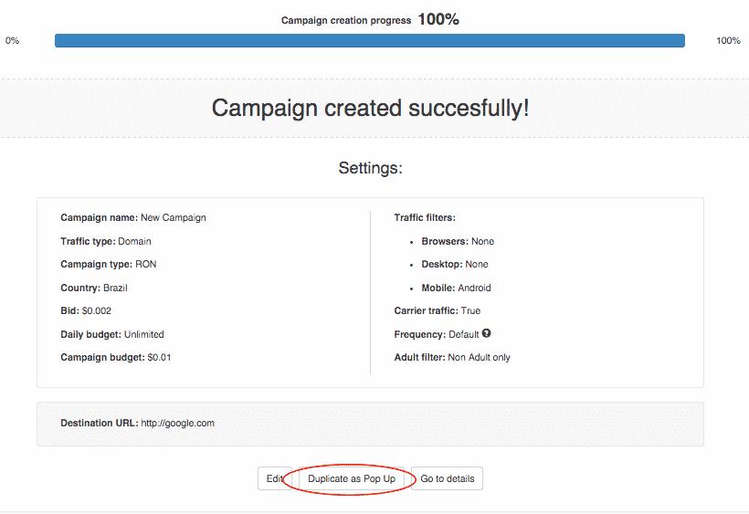 إعداد حملة Zeropark