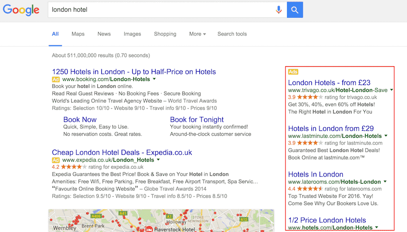 أماكن الإعلانات في صفحة نتائج البحث