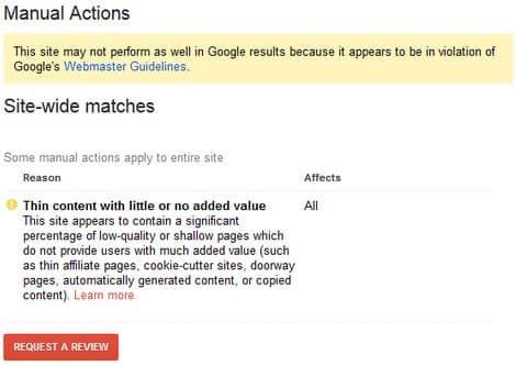عقوبة جوجل نتيجة المحتوى الضعيف