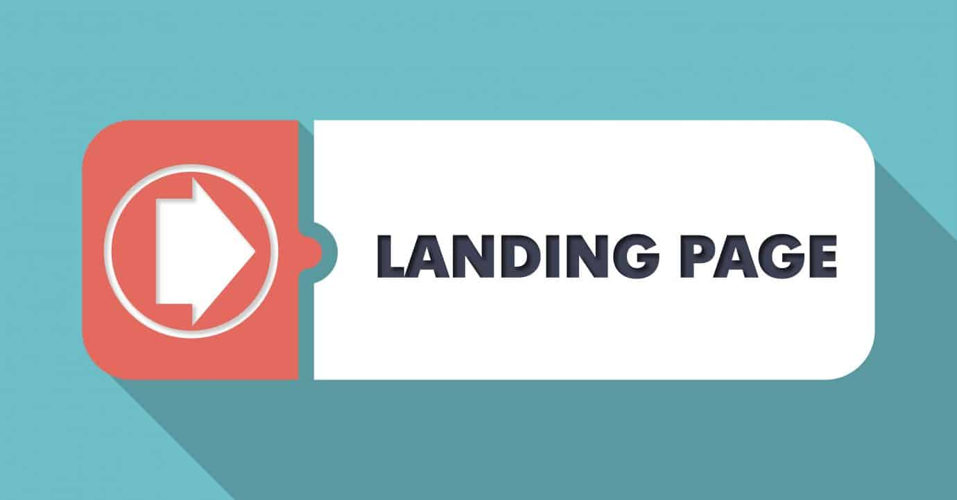 Landing Page on Blue in Flat Design with Long Shadows.
