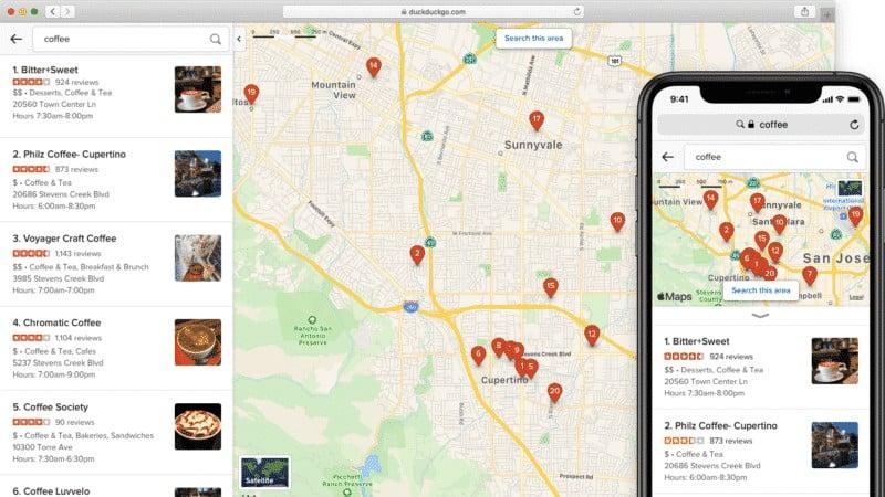 تحسينات جيدة لخدمة الخرائط على DuckDuckGo