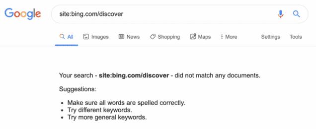 جوجل تزيل صفحات Bing Discover من نتائج بحثها