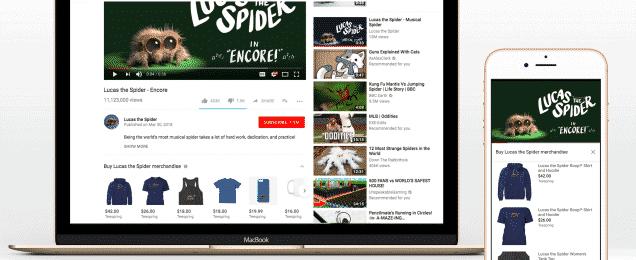 يوتيوب يوفر بيع بضائع الفنانين تحث مقاطع الفيديو