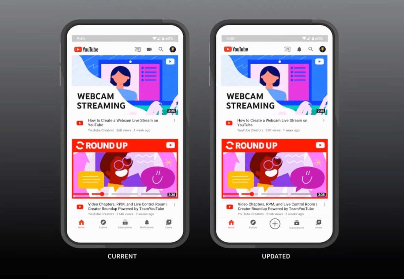 تصميم جديد لتطبيق يوتيوب يشجع على إنشاء مقاطع الفيديو