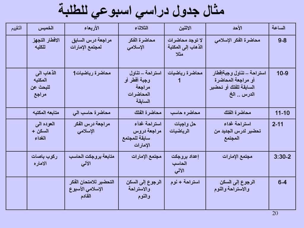 جدول تنظيم يومي من تصميمي 10